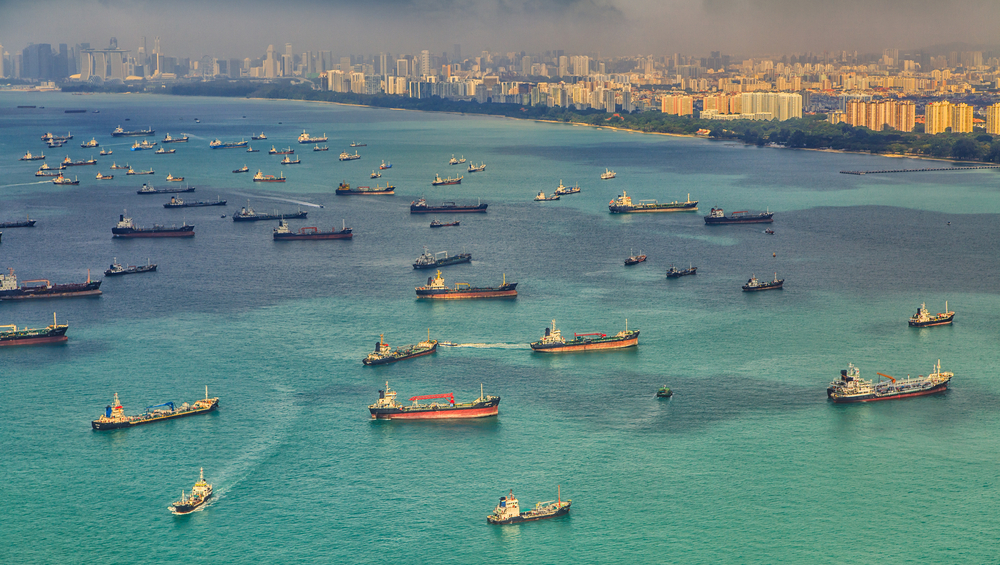 Ships at anchor waiting to unload in Singapore