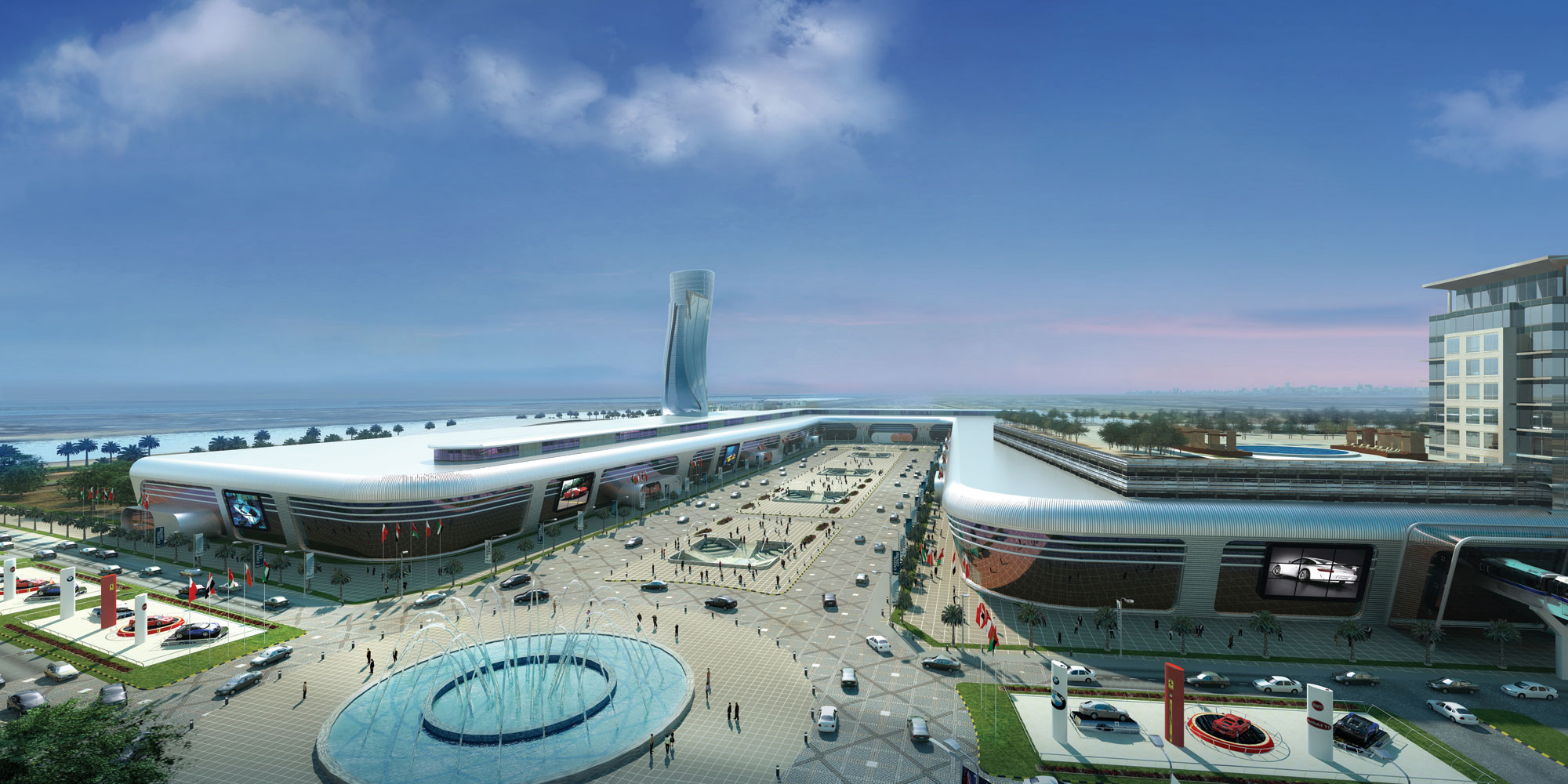 The Abu Dhabi National exhibition Centre is the largest exhibition centre in the Middle East with a total space of 133,000sqm
